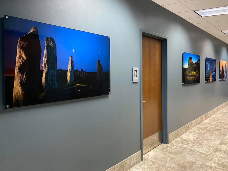 Acrylic Prints in an Office Building. Images by Martha Fabre Hale.