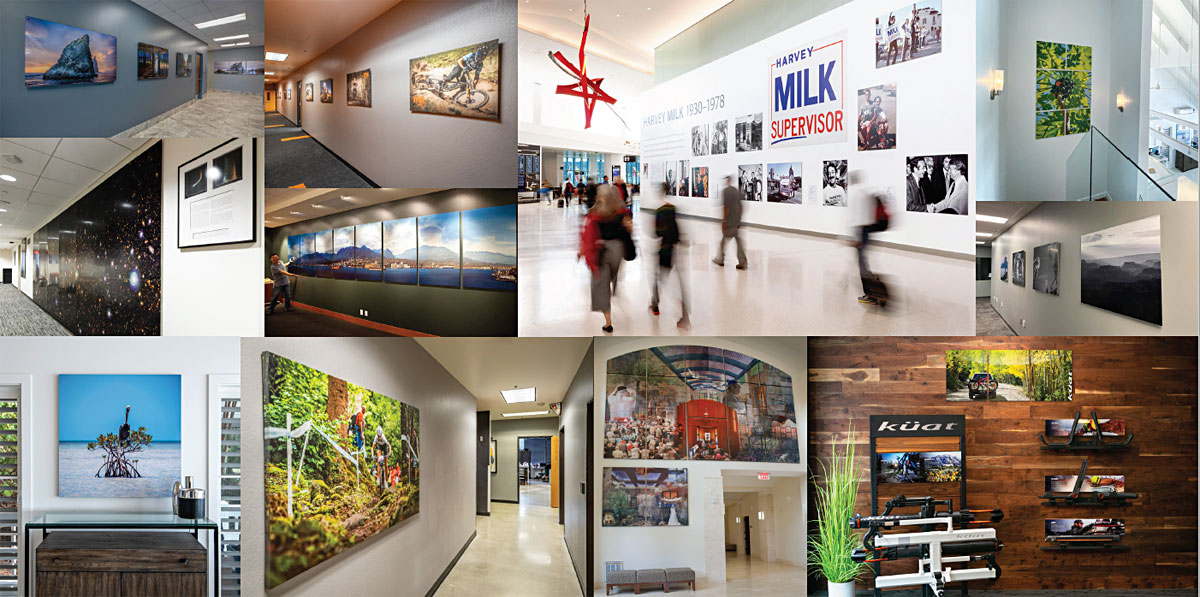 A composite of commercial installations featuring prints by Bay Photo