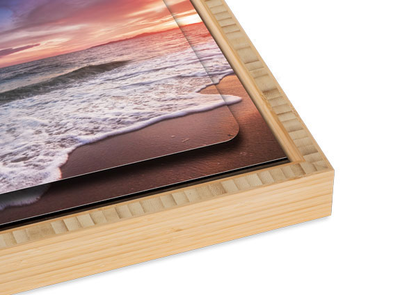 Double Float Metal Print with a Natural Bamboo Slim Float Frame
