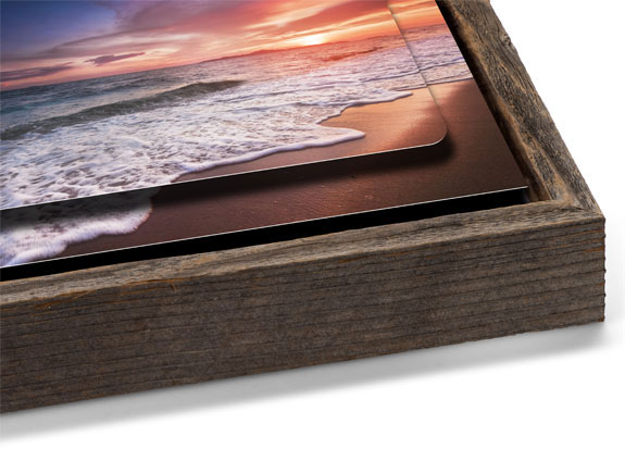 Double Float Metal Print with a Barnwood Slim Float Frame