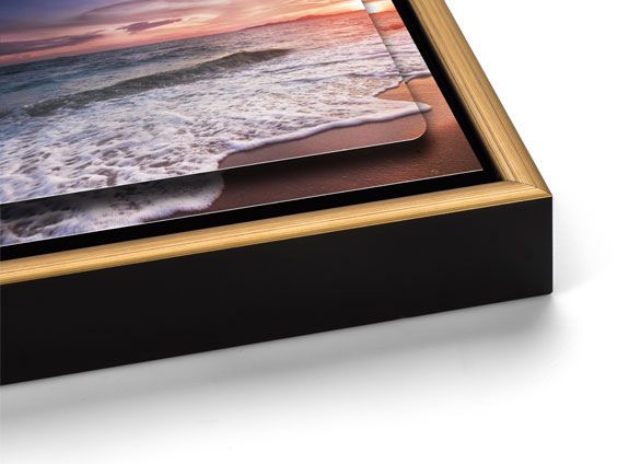 Double Float Metal Print with a Gold Slim Float Frame