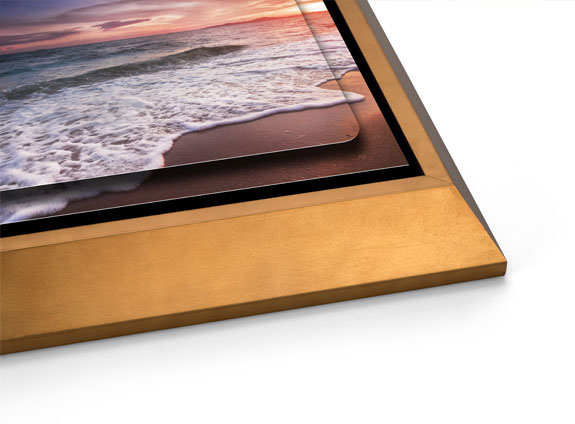 Double Float Metal Print with a Gold Wedge Float Frame