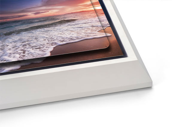 Double Float Metal Print with a White Wedge Float Frame