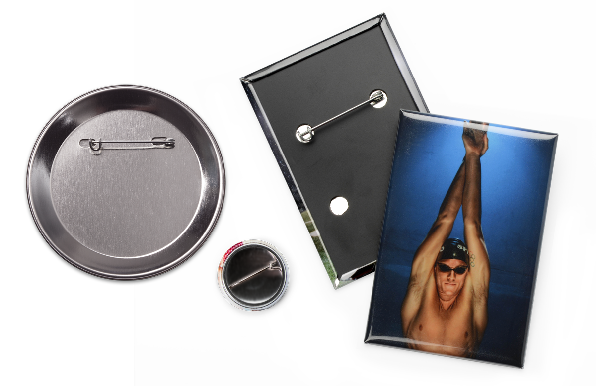 Photo Button Pins are made from a print on photo paper wrapped around a plastic or metal shell with a metal pin backing.