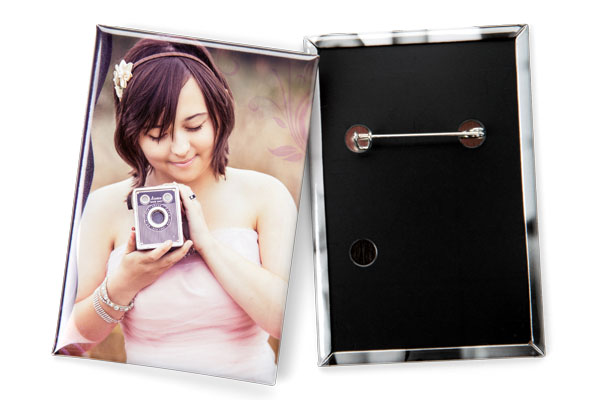 2x3 inch rectangle photo button pin
