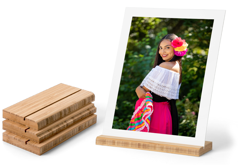 Gallery Boards display your images or artwork in an optional Bamboo Stand.